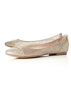 Steve Madden Kstudd SM Studded Flat Ballerina Shoes Gold