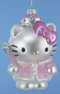 Pink Hello Kitty Blown Glass Christmas Tree Ornament