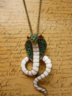 King Cobra Snake Green Red White Crystal Reptile Zoo Bronze Chain