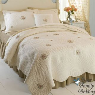 Country Ivory Matelasse Twin Full Queen King Size Quilt Cotton