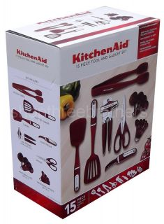 New KitchenAid 15 Piece Kitchen Utensil Tools Set Red Measuring Cups