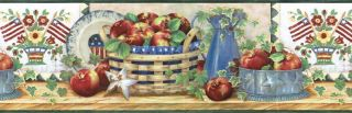 Americana Flag Apple Kitchen Wallpaper Border FF1102 3