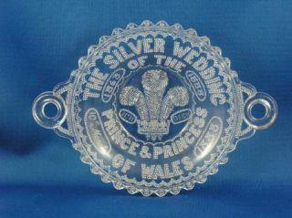 King Edward VII 25th Silver Wedding Anniversary Pressed Glass Dish C