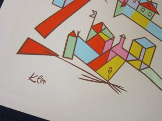 Original Cityscape Paul Klee Lithograph Abstract Art Signed