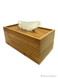 Solid Natural Bamboo Kleenex Tissue Box Cover Holder