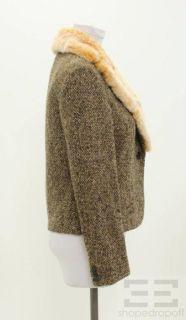 KITON Brown Cashmere Beige Rabbit Fur Collar One Button Blazer Size 42