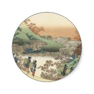 Women At Sunset Vintage Japanese Art Round Stickers
