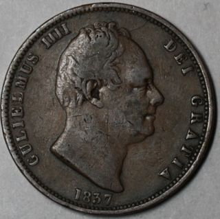 1837 RARE 1 2 Half Penny King William IV Great Britain Old US Money