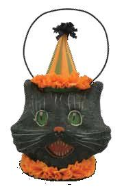 Bethany Lowe Small Sassy Kitty Cat Mini Candy Container Paper Mache