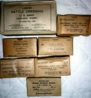 21pc WWII Medical Supplies Lot WW2 Case Field Kit Red Cross Vintage