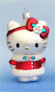 Hello Kitty in Red Holly Coat Glass Christmas Ornament Cat Holiday