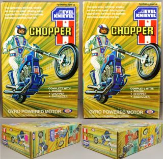 Evel Knievel 1976 Ideal Chopper Large Box Set