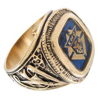 Knights of Columbus Blue Gold Tone Men Ring Sz 12