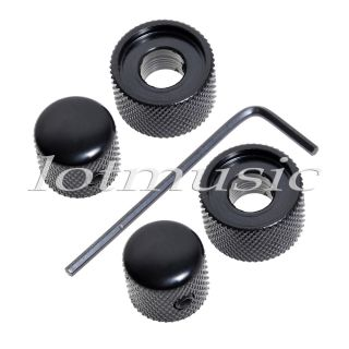 Pack New Metal Dual Control Knob for Dual Pot Black Screw Style