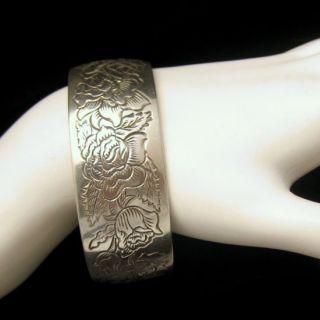 Kirk Pewter Vintage Wide Cuff Bangle Bracelet Rose Flower June