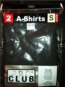 MENS A SHIRTS BLACK TANK TOP UNDERSHIRTS PRO CLUB SMALL 7XL 2PC
