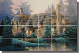 English Cottage Kitchen Ceramic Tile Mural Backsplash