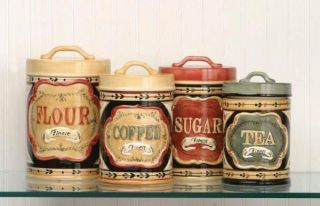 Country Mercantile Kitchen Canister Set Flour Sugar Coffee Tea Ceramic