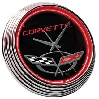 Clock Wall Mounted Red Neon Chrome Bezel Chevrolet Corvette Logo AA