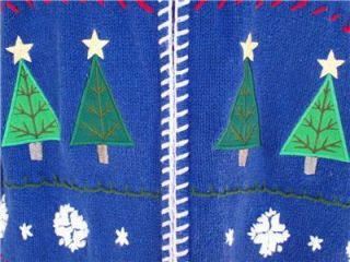 Ugly Christmas Sweater Tacky Holiday Party Womens Size XL Blue