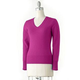 NWT Apt 9 Cashmere V Neck Stretch Sweater Super Soft 100 Cashmere