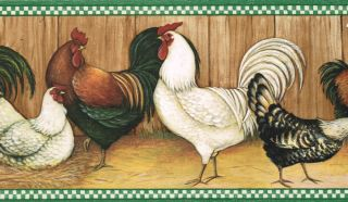 Roosters of All Kinds Country Kitchen Wallpaper Wall Border