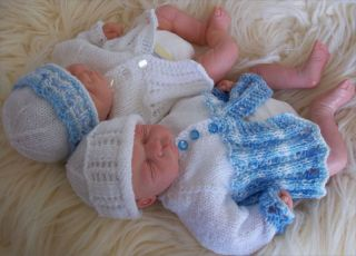 Early Baby or Reborn Doll DK Knitting Pattern Matinee Coat Hat Booties