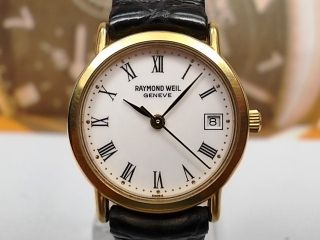 Raymond Weil Geneve Date Gold Plated Quartz Ladies Watch Roman