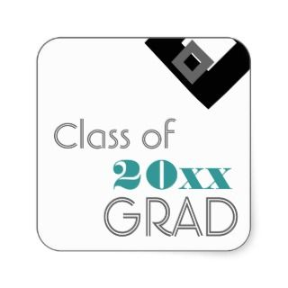 High School or College Graduation Gift Tag Blue Square Sticker