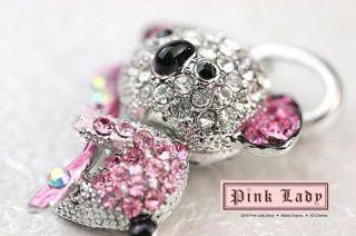 H398 Cute Pink Crystal Koala Bear Charm Pendant 3 Pcs