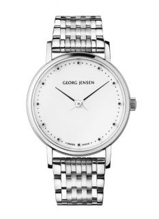 Georg Jensen Koppel Lady Watch 424 with White Dial and Steel Bracelet