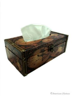 New 9 Faux Leather Map Kleenex Tissue Box Cover Holder Antique Design