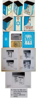 1940 British KKL JNF Tzedakah Blue Tin Box Aqaba Palestine Israel