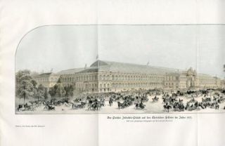 INDUSTRY PALACE 1855 CHAMPS ELYSEES FRANCE Antique Print H.Kraemer