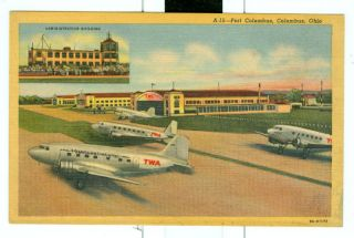 Columbus Oh Ohio Port Columbus Airport Unused Linen Postcard