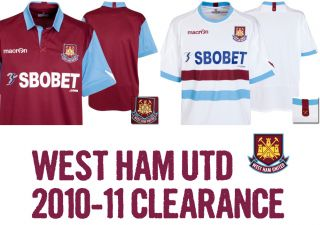 West Ham United Mens Macron Home Away Football Soccer Shirt Jersey