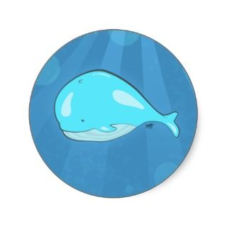 Cartoon Whale Round Sticker