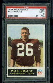 CA2 1965 Philadelphia 189 PSA 9 Paul Krause HOF Rookie