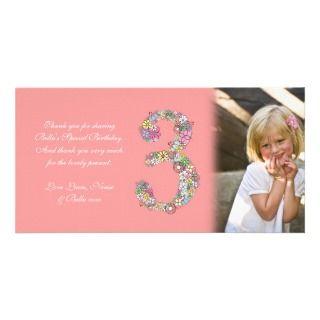 Little Girls 3rd Birthday Thank You Photo Card