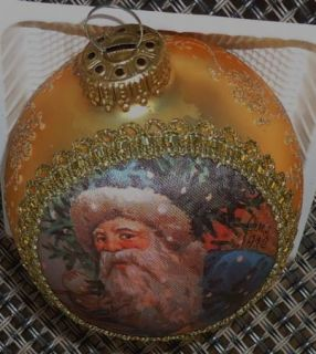 Krebs Santa on Silk St Nick 1912 Christmas Ornament Gold Glitter 1993