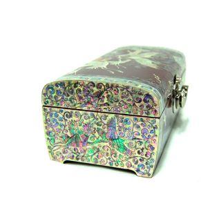 Art Wood Korean Red Lacquer Jewelry Keepsake Treasure Chest Box