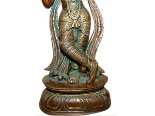 Lord Krishna Brass Statue Sculpture Hindu Religious Art Decorative