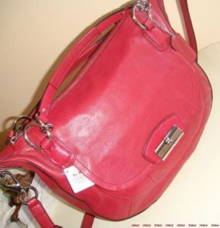 398 Coach Kristin Round Leather Satchel Bag Scarlet Red Silver 19295