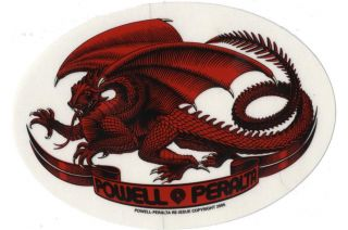 Powell Peralta Oval Dragon Sticker Red 5 inch Skateboard Decal