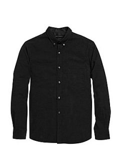 French Connection Core baby cord cotton shirt Black Diamond