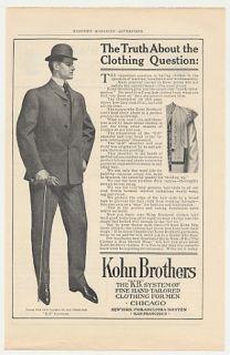 1905 Kohn Brothers Clothing Man Suit Print Ad