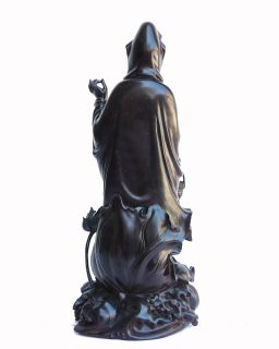 Elegant Chinese Africa Zitan Wood Lotus Kwan Yin Figure S2673