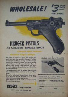 1954 Kruger 12 Pistol German Luger Design Ad Krüger