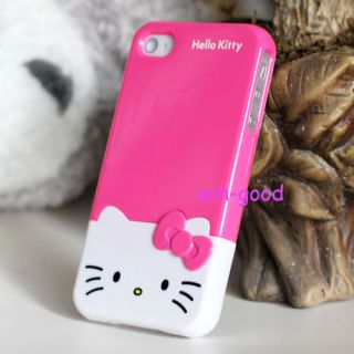 Best Fashion HelloKitty Face 3D Bow Case Cover Skin Hard for iPhone 4