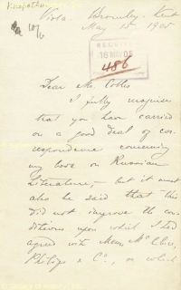 Peter A Kropotkin Autograph Letter Signed 05 15 1905